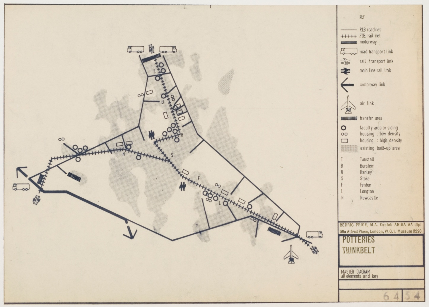 Cedric Price, Potteries Thinkbelt: diagramme, entre 1963 et 1966, diazotype sur papier, 30,3 x 42,2 cm, DR1995:0216:233, Fonds Cedric Price, Centre canadien d'architecture © CCA.