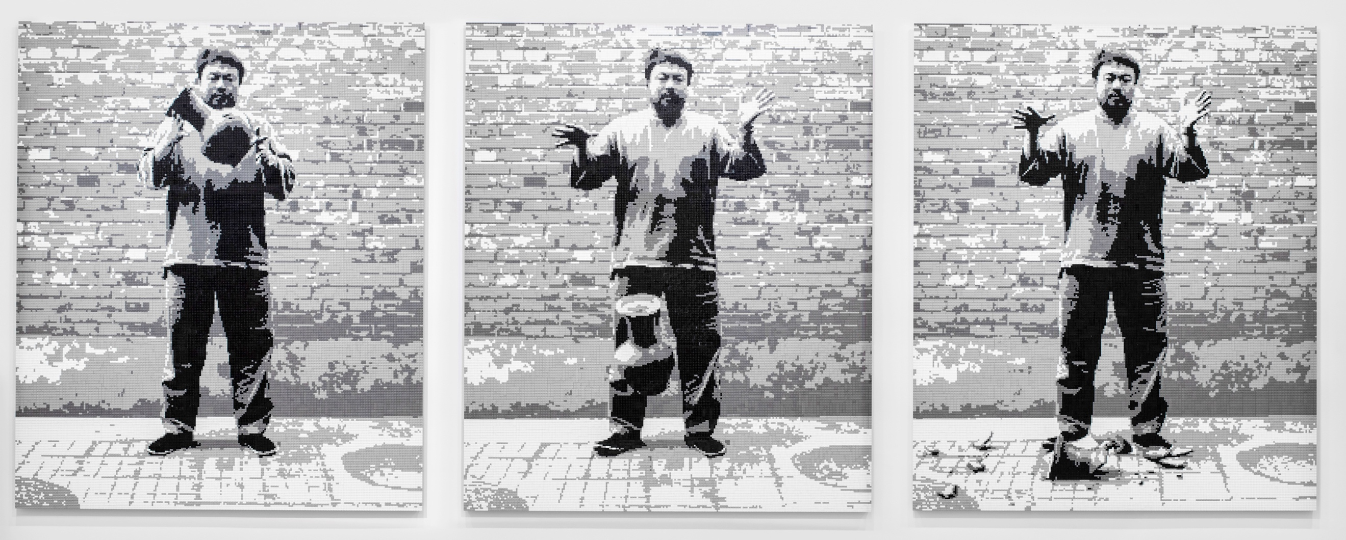 "Ai Weiwei: ""Dropping a Han Dynasty Urn"", 2015, LEGO bricks (from the original 1995 photographic triptych by the artist), 230x192x3cm. Courtesy Lisson Gallery."