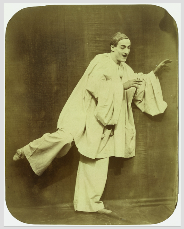 "Nadar & Adrien Tournachon: Jean-Charles Deburau as ""Pierrot Running"", 1854-55, Albumen silver print from glass negative, 26.5 x 20.8cm. Metropolitan Museum of Art, Gilman Collection, Purchase, The Horace W. Goldsmith Foundation Gift, through Joyce and Robert Menschel, 2005. https://www.metmuseum.org (Public Domain)"